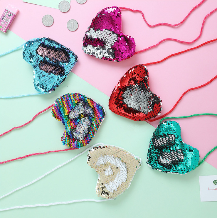 Children's Bag Mini Heart Shape Bags Baby Girls Waist Bag Crossbody Shinny Kids Girl Fashion Packs