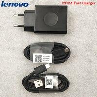 Lenovo cargador rápido 24W de la UE adaptador de pared de viaje Micro USB/Cable de tipo C para Lenovo Vibe P2 P1 Z5S Z6 Z5 pro K5 K5s Z3 Z2 K10 Plus