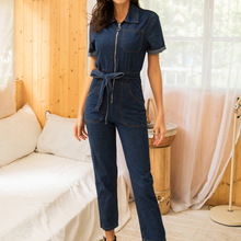 Zipper sexy denim jumpsuit long women romper bodycon summer jeans overalls Casua