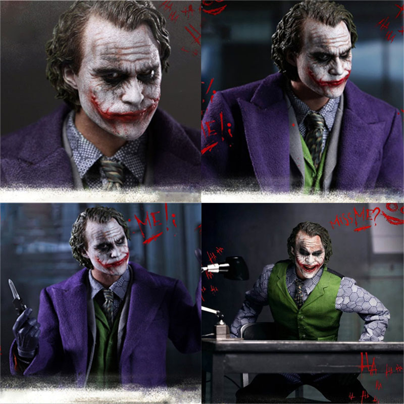 30cm Joker Figures Batman The Dark Knight Joker Variant Real Clothes Ver. Joker PVC Action Figure Collectible Model Toys