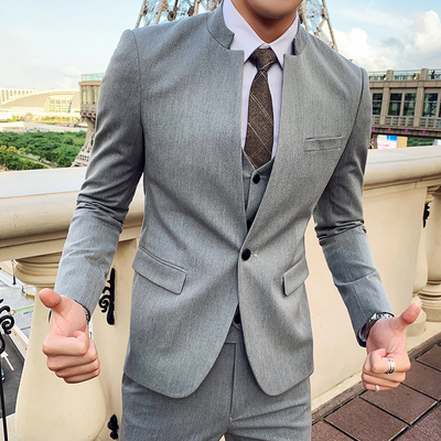 Chinese Collar Suit Men Designer 3 Pieces Complete Suits For Men Groom Wedding Tuxedo Slim Fit Costume Mariage Homme 2020 Spring