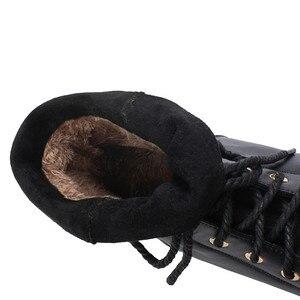 Image 5 - Ymechic 2019 moda cruz gravata chunky salto baixo mulher botas preto amarelo senhoras deslizamento em sapatos punk gótico tornozelo botas de combate inverno