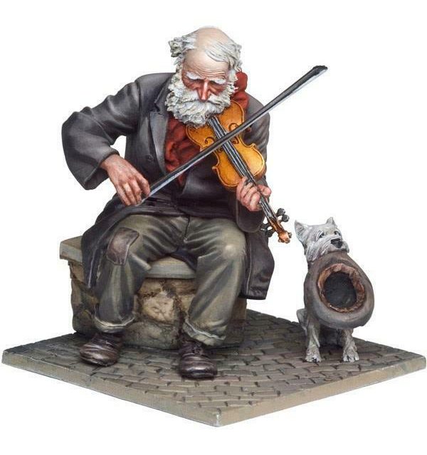 1/32 54mm Ancient Fiddler And Dog Resin Figure Model Kits Miniature Gk Unassembly Unpainted