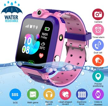 Kids Smart Watch Waterproof Smartwatch for Kids with Voice Chat Camera SOS Alarm Clock Games HD Touch Screen Kids Phone WatchSIM