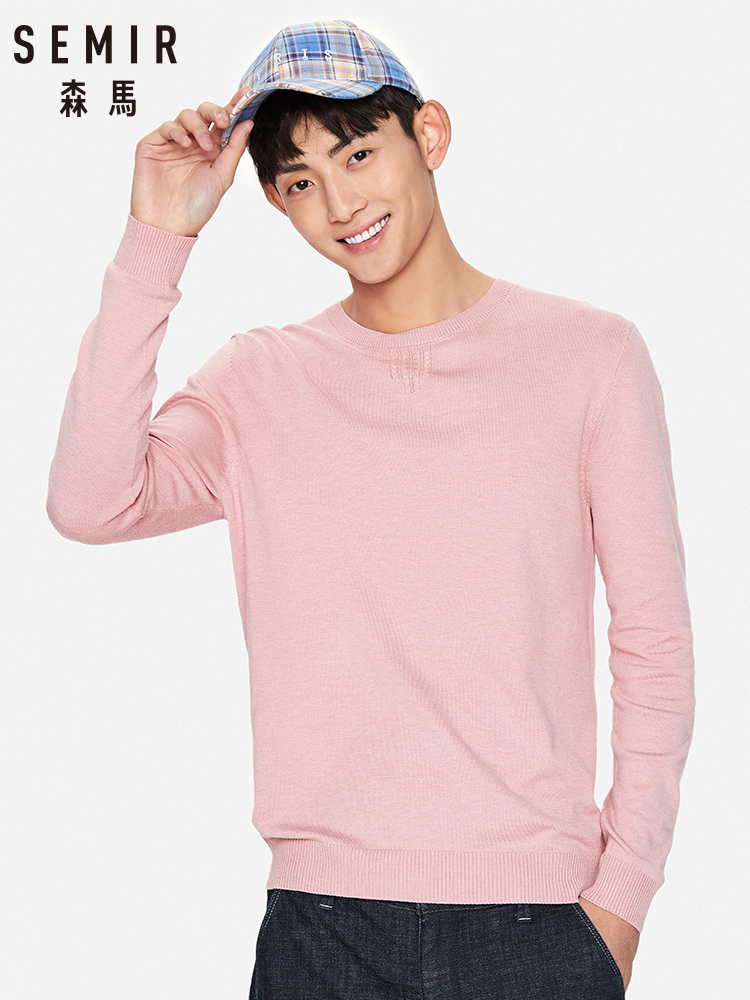 SEMIR O Neck Sweater Men 2020 Spring New Solid Color Pullover Warm Knitted Sweater Cotton Clothes