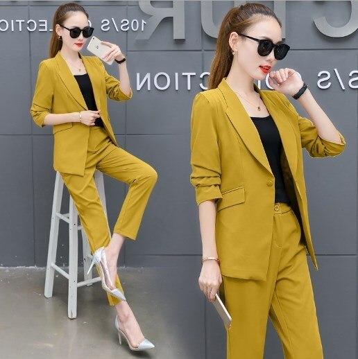 Office Uniform Designs Pant Suits Female Blazer+Pants Womens Office Wear Trouser Suit for Women Pantsuit Pink Yellow White Black