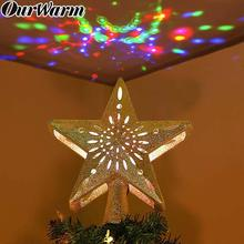 OurWarm Christmas Tree Topper Glitter Lighted Star with Adjustable Rotating Magic Projector Decoration