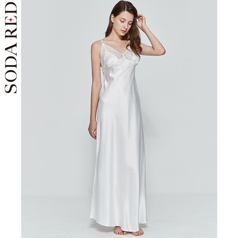 Sexy Women Nightgown Long Night Dress Artificial Silk Stain Deep-V Sleepwear Female Dressing Gown Nightie Nightwear