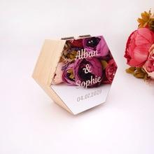 Шестигранная форма коробка с зеркальной крышкой на заказ имя вечерние подарочные деревянные коробки свадебные Конфетница Дисплей Декор