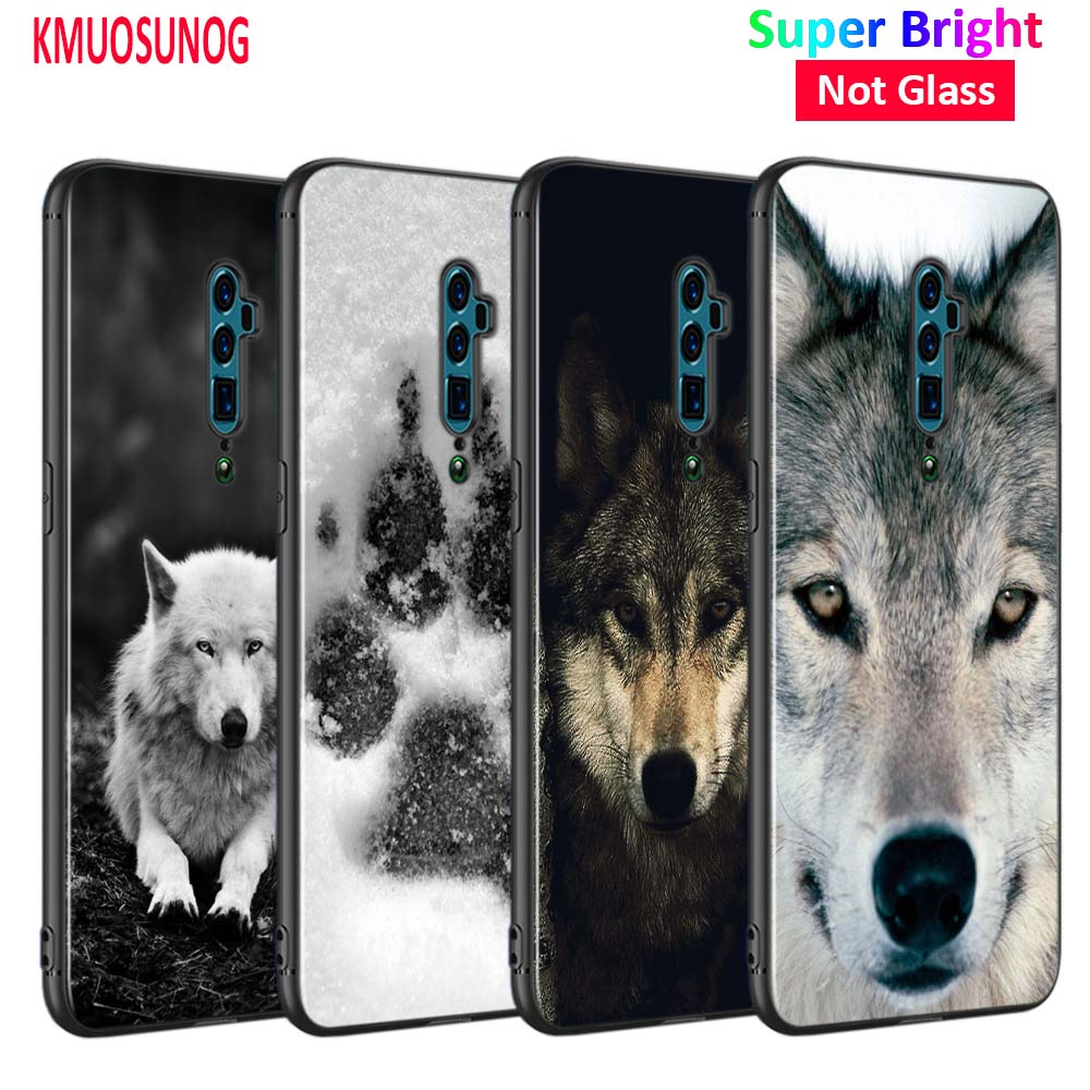 Silicone Phone Bag For OPPO F5 F7 F9 A5 A7 R9S R15 R17 Black Soft Case Cool Wolf  Print Style