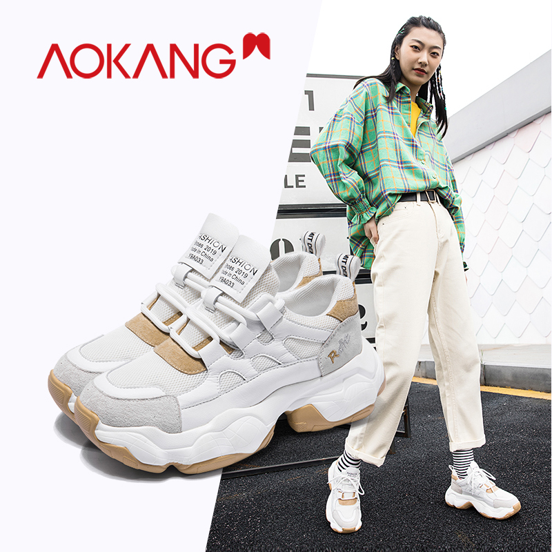 AOKANG Fashion Sneakers Women Shoes New Women Vulcanize Shoes 2019 Platform Shoes Women Mesh Flats Female Chunky Sneakers Shoes