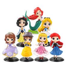 Q posket princesa figura brinquedo neve branca ariel sereia sophia belle dormir beleza modelo bonecas