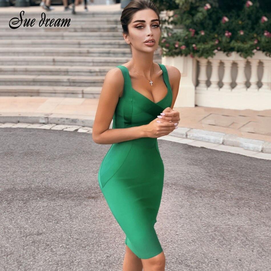 2021 женское Бандажное Платье До Колена, сексуальное облегающее Клубное платье на бретельках, вечерние платья без бретелек, летнее зеленое, б...