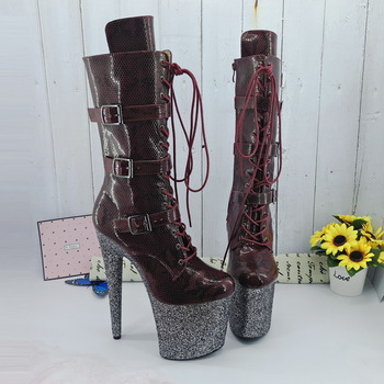 Leecabe  Burgundy snake 20CM/8inches Pole dancing shoes High Heel platform Boots closed toe Pole Dance boots jialuowei 20cm heel snake print hologramlace up thigh high pole dance platform faishion boots