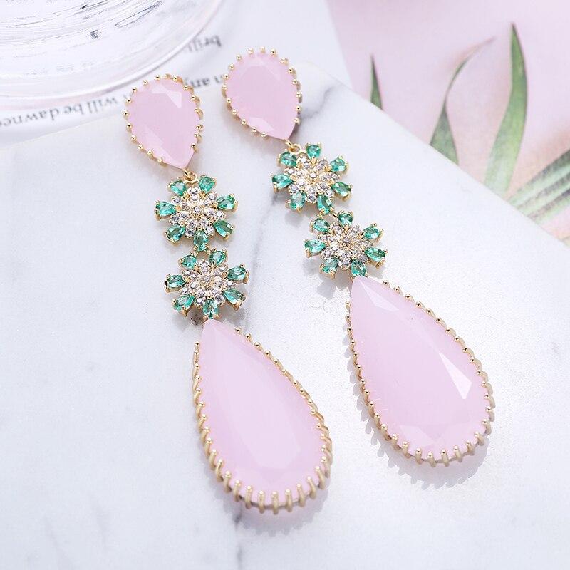 Image 2 - Rose couleur Zircon boucles doreilles de luxe longue goutte deau forme CZ pierre Elagant dame boucles doreilles bijoux pour mariage XIUMEIYIZU nouveauBoucles doreilles pendantes   -