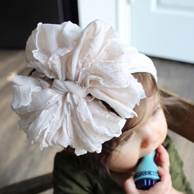 Oversize Lace Bow Baby Headband Wide Soft Flower Silk Hairband For Girl Headwear Children Bow Knot Turban Newbor Infant Headwrap