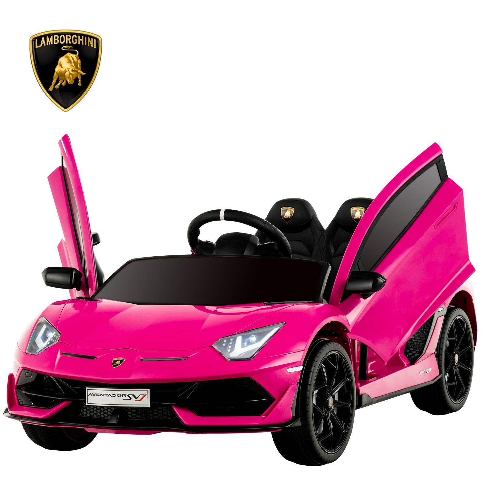 Uenjoy 12V Kids Electric Ride On Car Lamborghini Aventador SVJ Motorized Vehicles With Remote Control, Battery Powered, LED Ligh