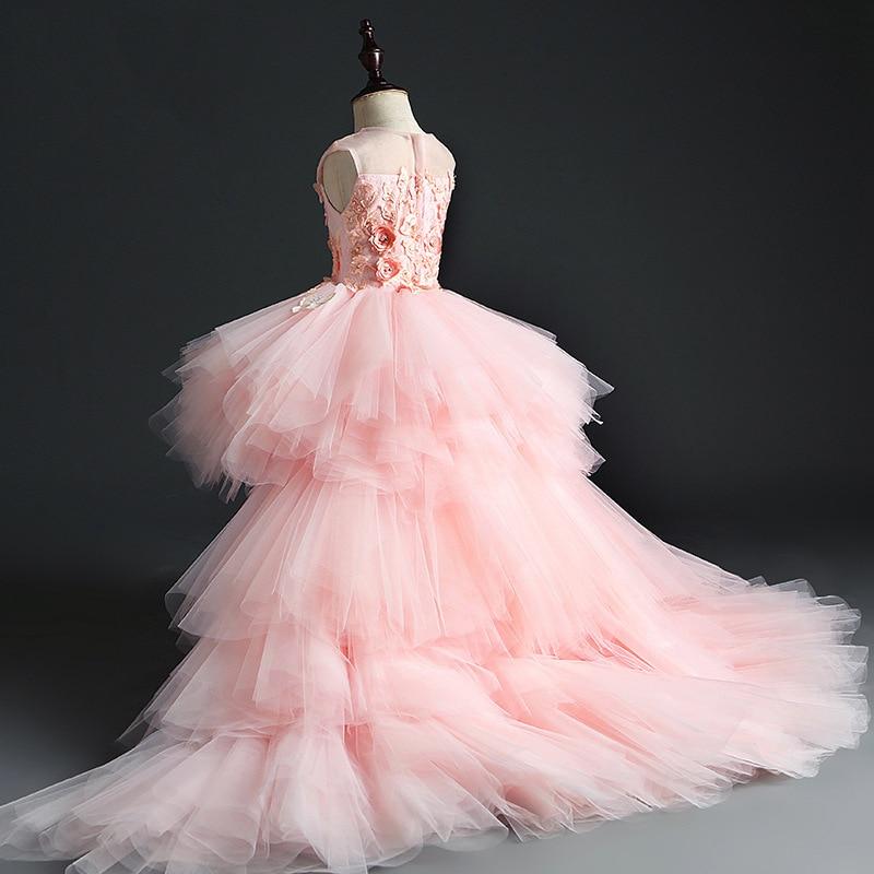 CHILDREN'S Dress Princess Dress Flower Fairy Pink Girls Model Catwalks Late Formal Dress Women's 2019 Small Host Tailing