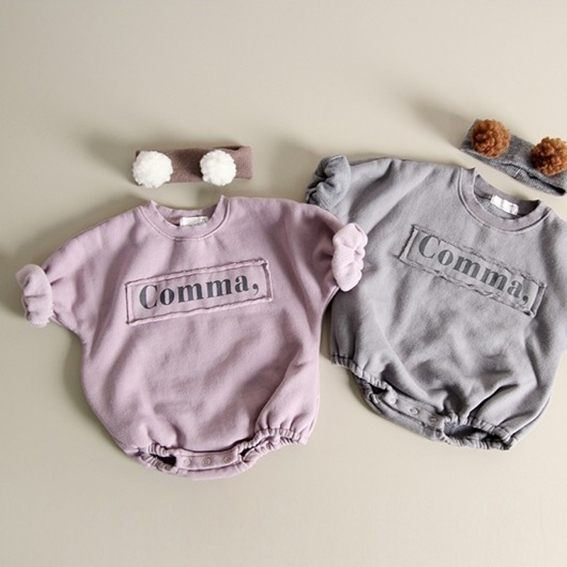 2020 Baby Girl Bodysuits Baby Letters Velvet One-piece Sweater Girls And Boys Fashion Loose Baby Bodysuit 2