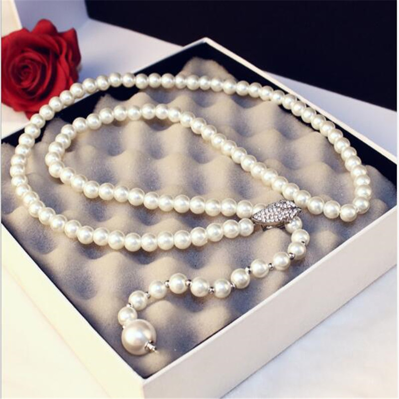 CX-Shirling Long Simulated Pearl Necklace For Women Crystal Pendant Party
