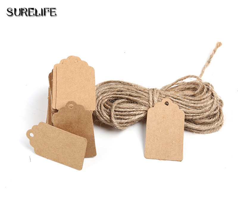 2000Pcs Tag Store Kraft Paper Blank DIY Wedding Gift Hemp Rope Price Label Hang 2*4cm/3*5cm - 4