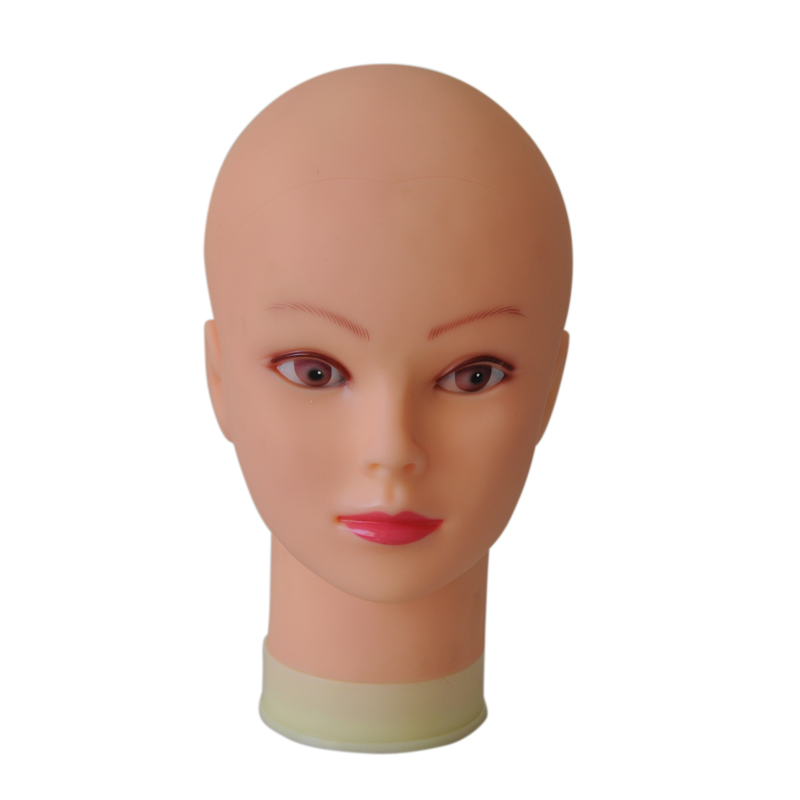 55cm Bald Mannequin Head With Black Table Stand Female Maniquin Head For Wig Making Hat Display Maniqui Wig Stand image