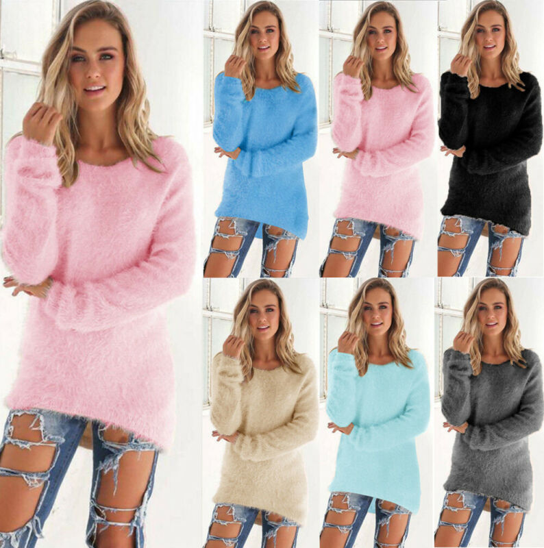 2019 Women's Long Sleeve O-Neck Fleece Loose Winter Warm Solid Sweater Casual Jumper Pullover Base Tops