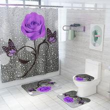 Коврик для ванной с цветочным рисунком и занавеска душа крючками