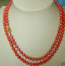 "+ + + 818 Menawan Jewelry7-8mm Merah Karang Kalung 64""(China)"