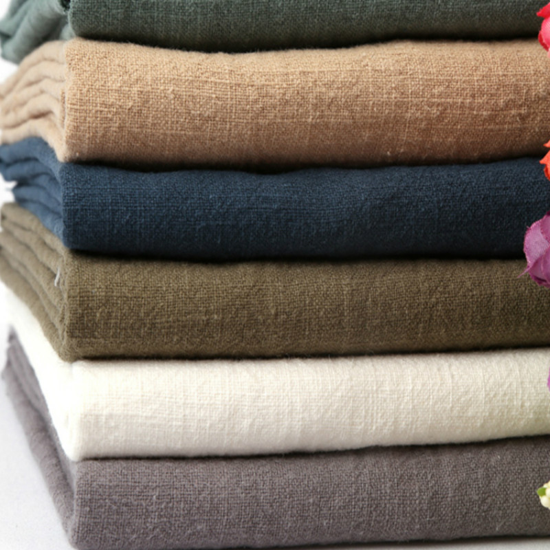Washed Cotton and Linen Cloth Garment Fabric Diy Plain Linen Thin Linen Solid Color Summer Ramie Cloth Per Meter Home Textile