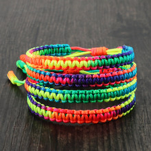 Gradient Color Handmade Braid Lucky Knot Bracelets Tibetan Buddhist Rainbow Multicolor Woven Bangles Charm Friendship Bracelet
