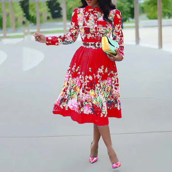 Autumn Long Sleeve Women Pleated Floral Print Dress 2019 Elegant Female Plus Size African Office Ladies Vintage Midi Dress Retro 5