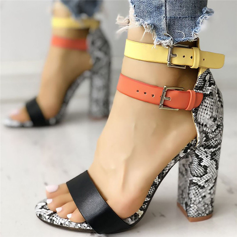 Sandalias Mujer 2019 Women's Ladies Fashion Mixed Colors Snake High Heels Buckle Sandals Casual Shoes Dropship M#24