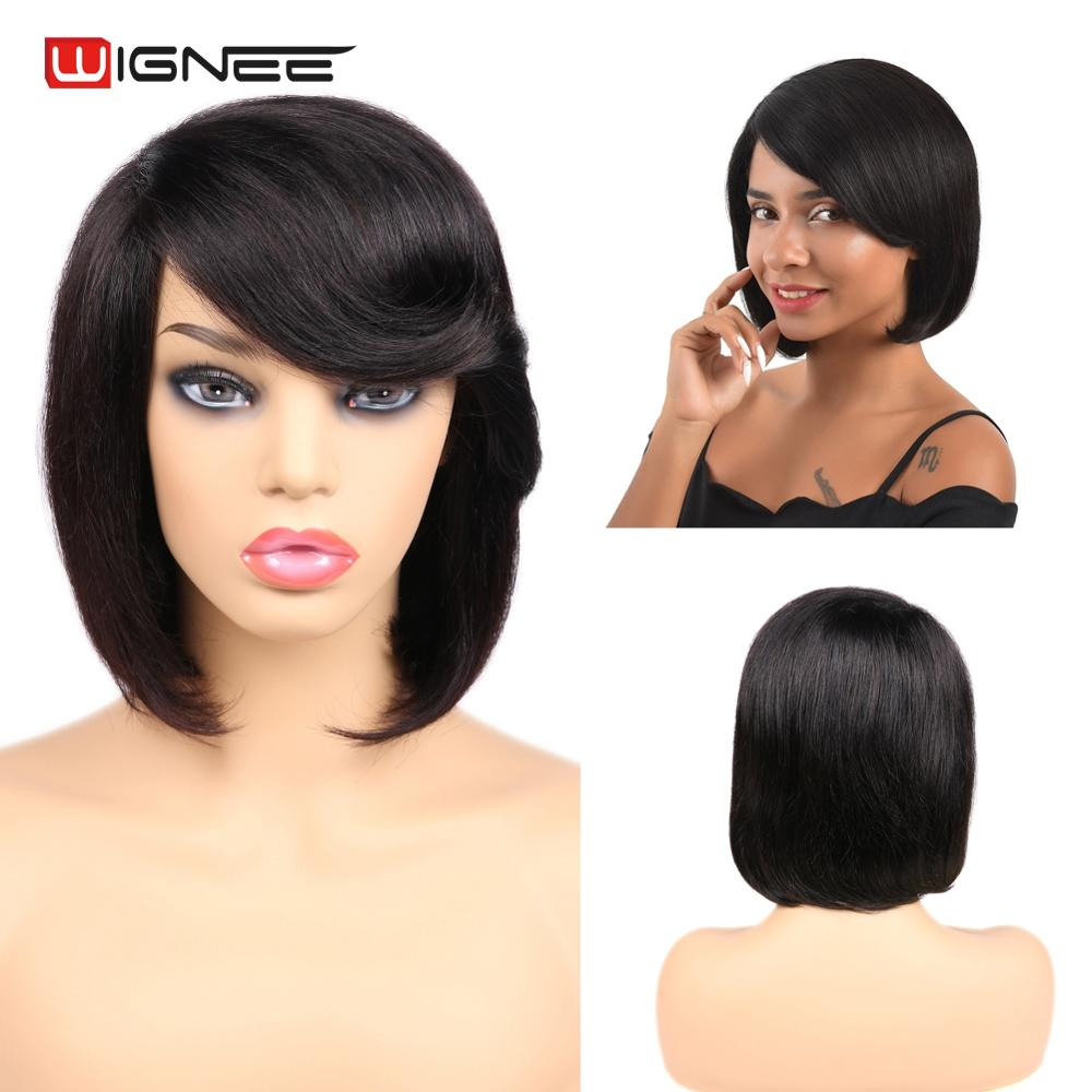 Wignee 100% Human Hair Short Bob Wigs Brazilian Remy Hair Lace Part Human Hair Wigs Straight Hair Bob Wigs For Black/White Women