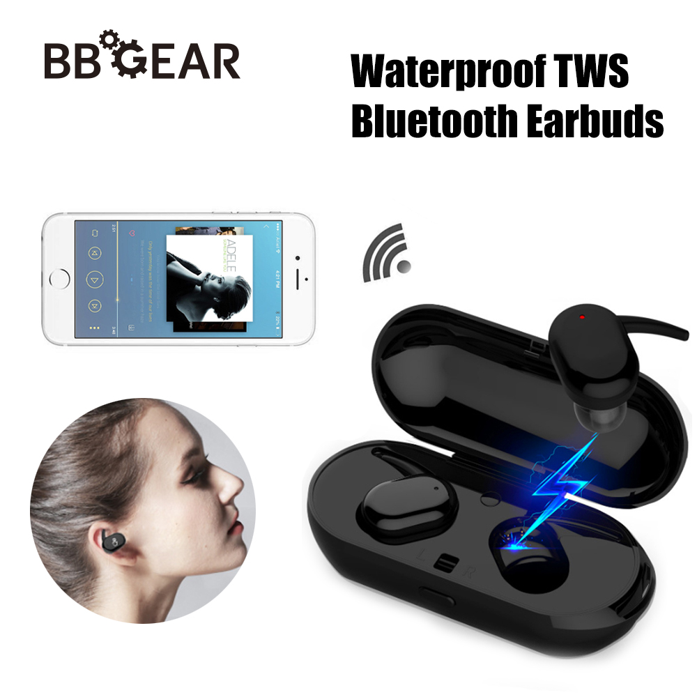 Waterproof TWS Touch Two Bluetooth Earphones HD Stereo Ture Wireless In Ear Earbuds with Charger Box Handsfree in Car Clearance