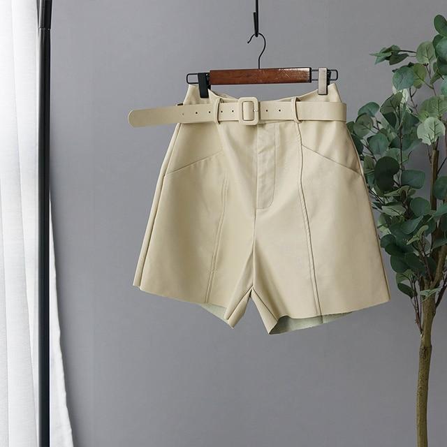 Pu Leather Short High Waist Bermuda Shorts 2019 Autumn Winter Wide Leg Short Pants High Quality 15