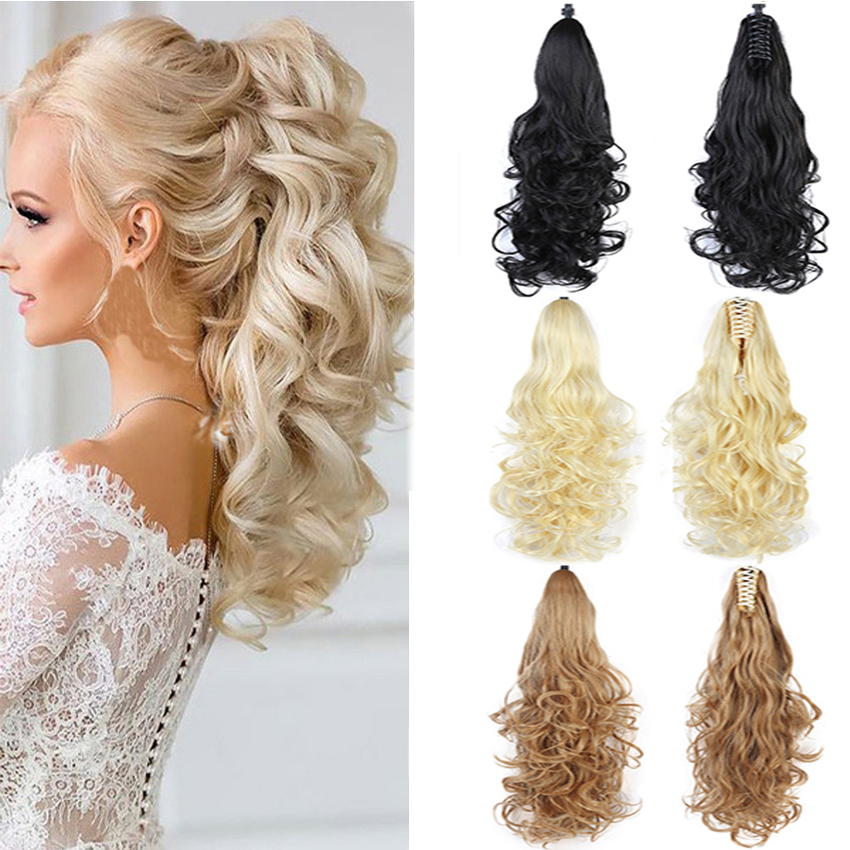 Lupu Long Ponytail Hair Extension Claws 24 Inch For Women Wig Hair Wavy Clip Little Blonde Girl Heat Resistant Hair Extension