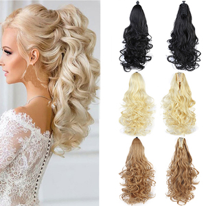 Lupu Long Ponytail Hair Extension Claws 24 Inch For Women Wig Hair Wavy Clip Little Blonde Girl Heat Resistant hair extension(China)
