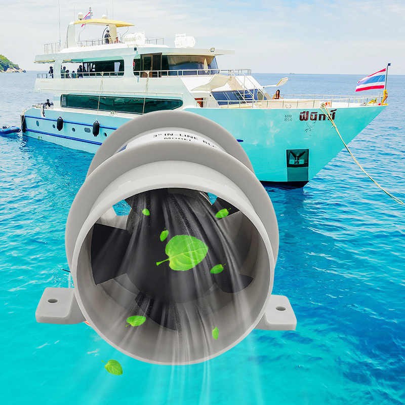 1 Pcs Marine 3 Inch In-Line Bilge Turbo Blower 12 Volt Water Resistant White Suit Five- Fan Quiet Blower Boat Accessories