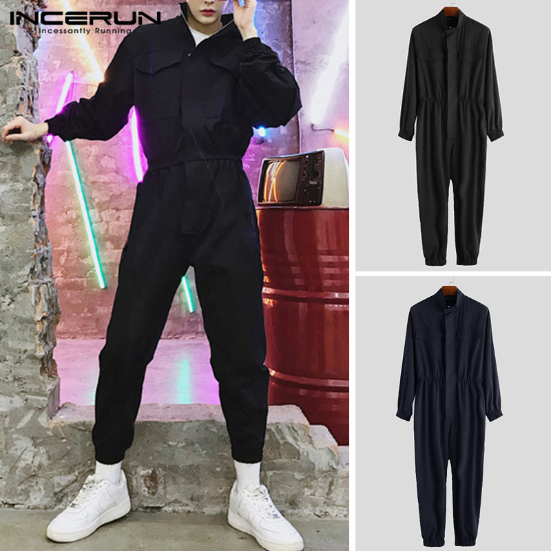 INCERUN Long Sleeve Hip Hop Collar Japanese Retro Men's Suit Jumpsuit Overalls 2020 Solid Color Thin Section Nine-Piece Jumpsuit