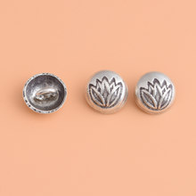 S925 Thailand Chiang Mai Handmade Silver Button, Retro Lotus Button, handmade DIY materials accessories()