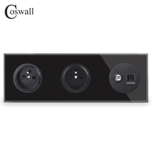 Image 2 - Coswall Crystal Glass Panel Double French Standard Wall Socket  + Female TV Connector With CAT5E RJ45 Computer Jack R11 Series
