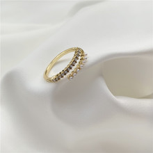 2020 New Korean Vintage Rings For Women Geometric Gold Rhinestone Rings With Pearl Open Rings Fashion Jewelry Accessory 2020 new korean vintage star and moon rhinestone bracelet for women gold pearl girl bracelet gifts fashion jewelry accessory