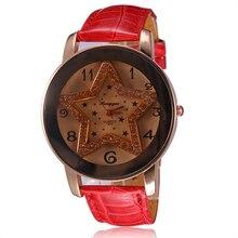 מוצרים חדשים מכירה לוהטת קריסטל ריינסטון נשים שעון אופנה יוקרה רצועת עור מזדמן עמיד למים קוורץ נשים שעון מתנת גב