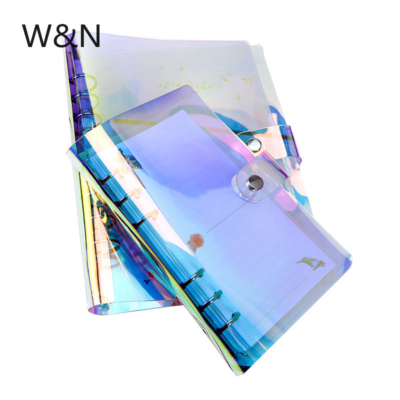<font><b>A5</b></font> A6 A7 PVC Rainbow Laser <font><b>Binder</b></font> Transparent Notebook Diary Cover School DIY <font><b>6</b></font> <font><b>Holes</b></font> <font><b>Binder</b></font> Diary Planner Cover Office Supplies image