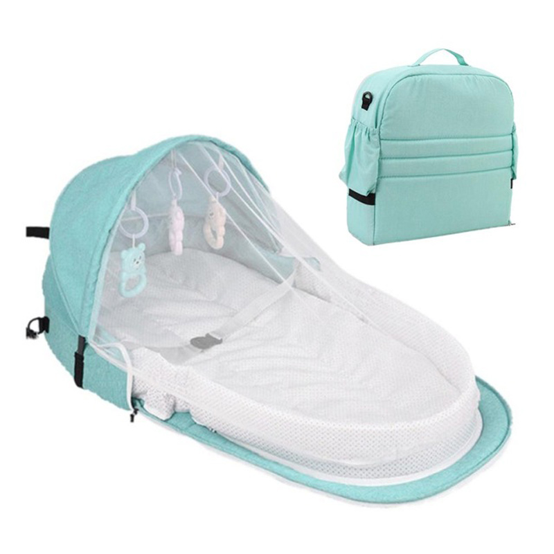 Portable Bed Foldable Baby Bed Travel Sun Protection Mosquito Net Breathable Soft Cribs Infant Sleeping Basket With Rattles Toys