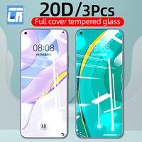 Protector de pantalla de vidrio templado 20D para Huawei Nova 5t 7i Y9S Y6S Y5P Y6P Y7P, Protector de pantalla de cobertura completa para Huawei P40 P30 P20 Lite, 3 uds.