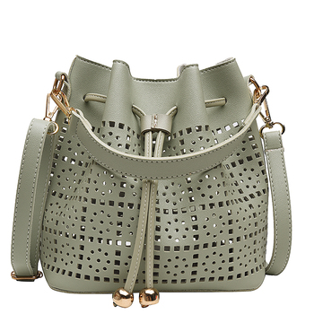 Women Small Pu Leather Handbags Shoulder Bags Luxury Designer Female Hollow Out Bucket Crossbody Bag High Quality Messenger Bags image