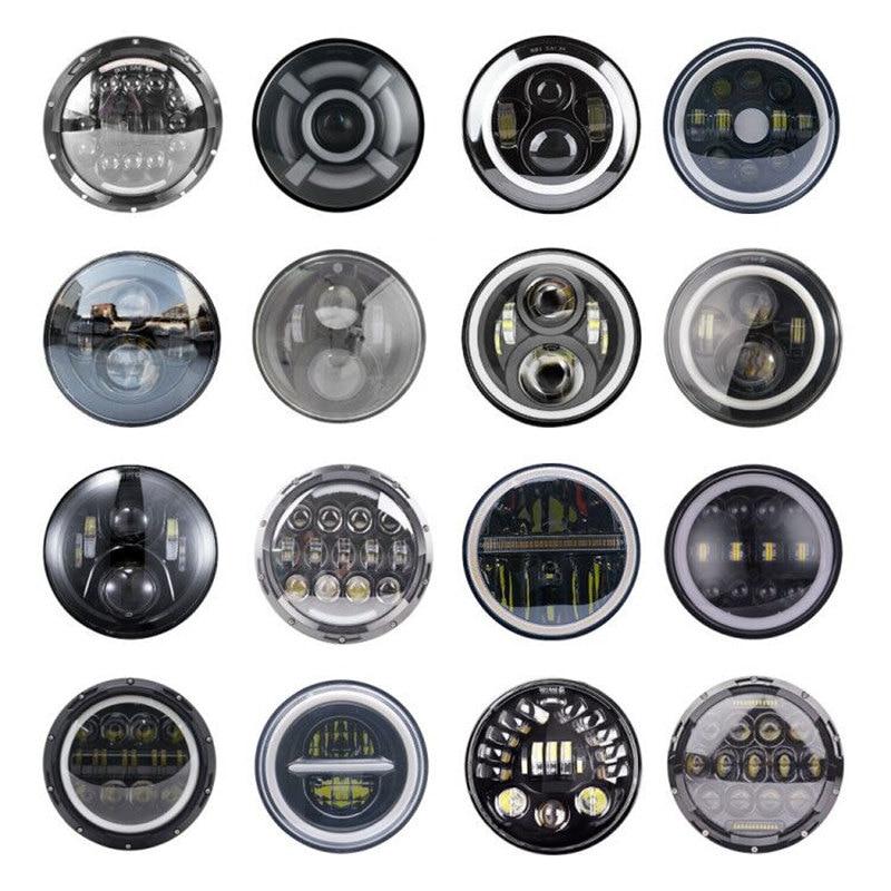 Фары головного света, 7 дюймов, светодиодные, с ближним/дальним светом, ДХО, «ангельские глаза» для внедорожников, Lada Niva Urban, Jeep Wrangler, Suzuki Samurai, 2...