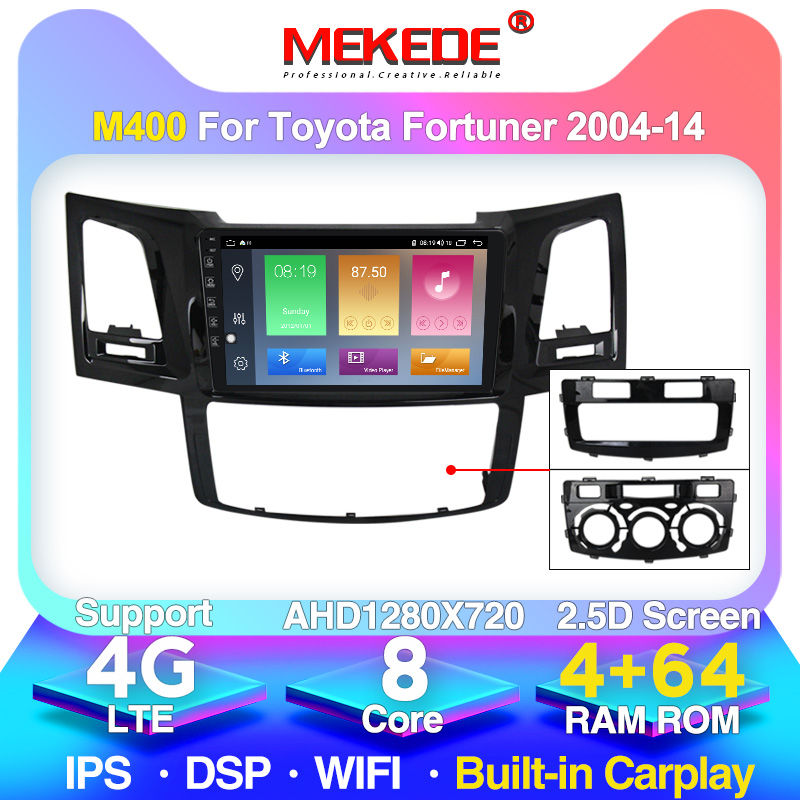 4G LTE Android 10.0 For Toyotal Fortuner/HILUX Revo / Vigo 2004-2013 2014 Multimedia Stereo Car DVD Player Navigation GPS Radio